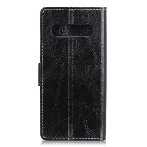 Crazy Horse Leather Wallet Case for Samsung Galaxy S10 5G - Black