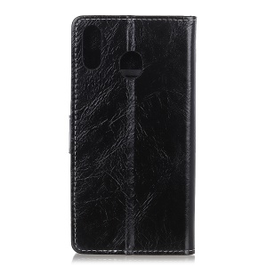 Crazy Horse Leather Wallet Case for Samsung Galaxy A40 - Black