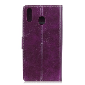 Crazy Horse Leather Wallet Case for Samsung Galaxy A40 - Purple