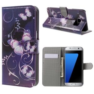 Phone Leather Stand Case for Samsung Galaxy S7 edge G935 - Purple Butterflies