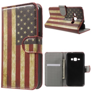 Leather Stand Wallet Cover for Samsung Galaxy J1 (2016) - Vintage US Flag
