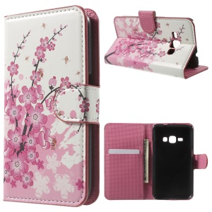 Leather Stand Wallet Shell para Samsung Galaxy J1(2016) - Flor de ameixa