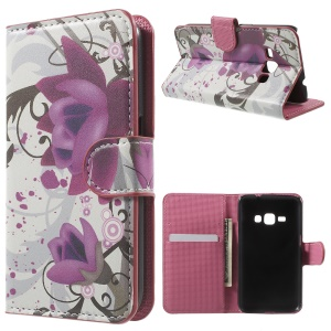 Leather Stand Card Holder Case for Samsung Galaxy J1 (2016) - Purple Flower