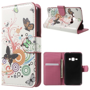 Leather Stand Wallet Case for Samsung Galaxy J1 (2016) - Butterfly and Circle