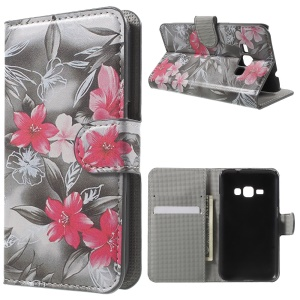 Leather Wallet Phone Cover for Samsung Galaxy J1 (2016) - Blooming Flower