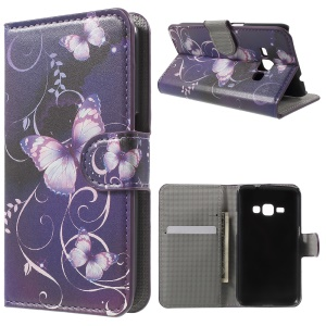 Leather Stand Wallet Flip Case for Samsung Galaxy J1 (2016) - Purple Butterfly