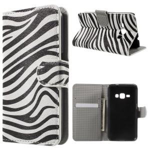 Leather Stand Wallet Case for Samsung Galaxy J1 (2016) - Zebra Pattern