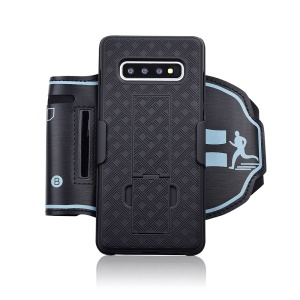 For Samsung Galaxy S10 Plus Nylon Sport Armband Woven Pattern PC Protection Phone Cover Case with Kickstand