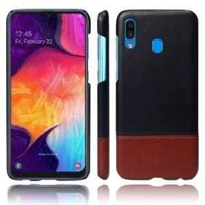 KSQ Bi-color Splicing PU Leather Coated PC Phone Shell for Samsung Galaxy A30