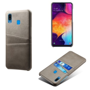 KSQ PU Leather Coated PC Case with [Dual Card Slots] for Samsung Galaxy A30 - Grey