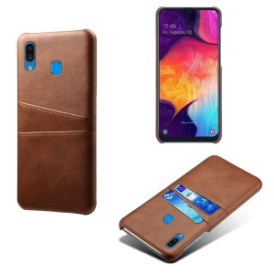 KSQ PU Leather Coated PC Case with [Dual Card Slots] for Samsung Galaxy A30 - Brown