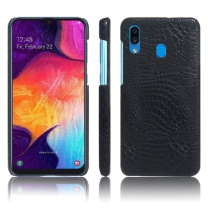 KSQ Crocodile Texture PU Leather Coated PC Case Cover for Samsung Galaxy A30 - Black