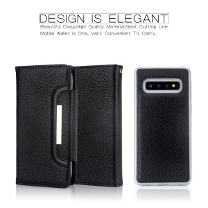 Litchi Texture Detachable 2-in-1 Magnet Leather Wallet Cover for Samsung Galaxy S10 Plus - Black