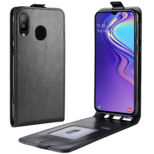Crazy Horse [Vertical Flip] Leather Phone Shell for Samsung Galaxy M20 - Black