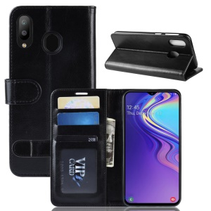Crazy Horse [Wallet Stand] Leather Case for Samsung Galaxy M20 - Black