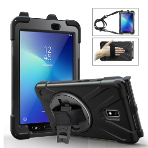 For Samsung Galaxy Tab Active 2 8.0 T395/T390 [X-Shape] PC + TPU Combo Case with Kickstand, Hand Strap and Shoulder Strap - All Black