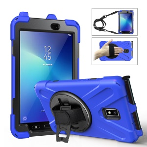 For Samsung Galaxy Tab Active 2 8.0 T395/T390 [X-Shape] PC + TPU Combo Case with Kickstand, Hand Strap and Shoulder Strap - Blue