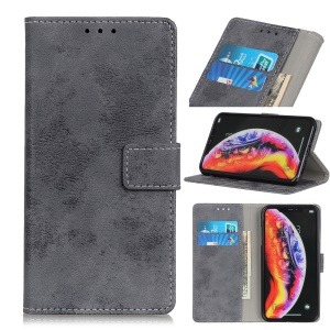 Vintage Style Wallet PU Leather Stand Phone Case for Samsung Galaxy A10 - Grey