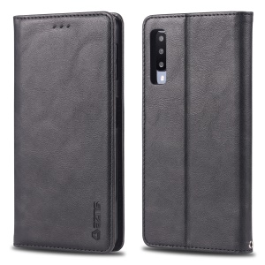 AZNS Retro Style PU Leather Card Holder Case for Samsung Galaxy A7 (2018) - Black