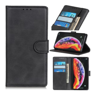 Matte Skin PU Leather Magnetic Wallet Shell for Samsung Galaxy A30/A20 - Black