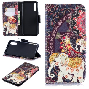 Pattern Printing PU Leather Wallet Cover for Samsung Galaxy A50 / A50s / A30s - Elephant and Peacock