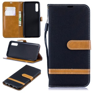 Assorted Color Jeans Cloth Wallet Stand Leather Shell for Samsung Galaxy A50 - Black