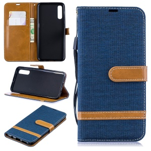 Assorted Color Jeans Cloth Wallet Stand Leather Shell for Samsung Galaxy A50 - Dark Blue