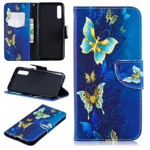 For Samsung Galaxy A50 Pattern Printing Leather Stand Wallet Case - Blue Butterflies