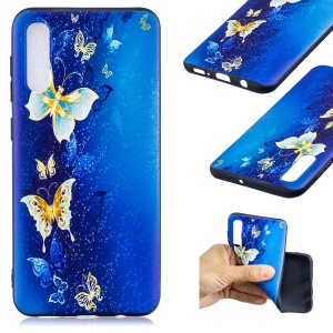 Embossment Patterned TPU Soft Protector Cover Case for Samsung Galaxy A50 / A50s / A30s - Blue Butterfly