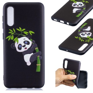 Embossment Patterned TPU Soft Protector Cover Case for Samsung Galaxy A50 / A50s / A30s - Panda Climbing on Bamboo