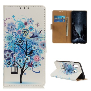 Pattern Printing Wallet Leather Stand Case for Samsung Galaxy A40 - Blue Tree