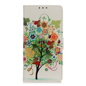 Pattern Printing Wallet Leather Stand Case for Samsung Galaxy A40 - Colorized Tree