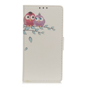 Pattern Printing Wallet Leather Stand Case for Samsung Galaxy A40 - Two Owls on the Tree Branch