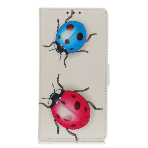 Pattern Printing Wallet Leather Stand Case for Samsung Galaxy A40 - Ladybug