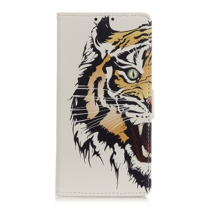 Pattern Printing Wallet Leather Stand Case for Samsung Galaxy A40 - Tiger