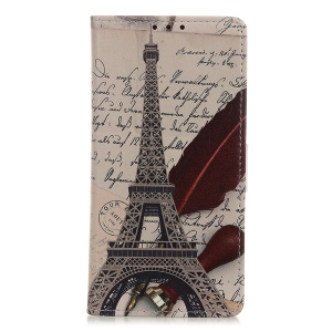 Pattern Printing Wallet Leather Stand Case for Samsung Galaxy A40 - Eiffel Tower and Characters