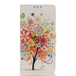 Pattern Printing Wallet Leather Stand Case for Samsung Galaxy A40 - Flowered Tree