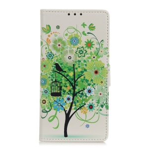 Pattern Printing Wallet Leather Stand Case for Samsung Galaxy A40 - Green Tree
