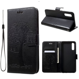 Imprint Tree Owl Wallet Stand Leather Phone Casing for Samsung Galaxy A50 - Black