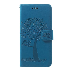 Imprint Tree Owl Wallet Stand Leather Phone Casing for Samsung Galaxy A50 - Blue