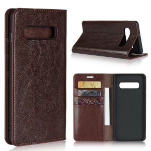 Crazy Horse Genuine Leather Phone Casing with Wallet for Samsung Galaxy S10 Plus - Coffee