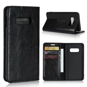 Crazy Horse Genuine Leather Wallet Phone Cover for Samsung Galaxy S10e - Black