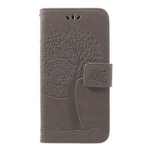 Imprint Tree Owl Leather Wallet Case for Samsung Galaxy A40 - Grey