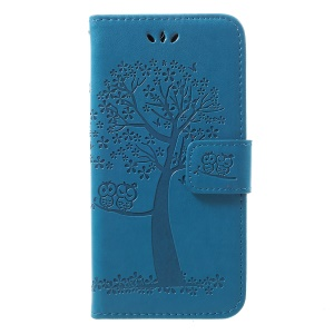 Imprint Tree Owl Leather Wallet Case for Samsung Galaxy A40 - Blue
