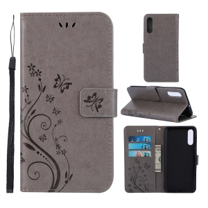 Imprint Butterfly Flower Leather Wallet Case for Samsung Galaxy A50 / A50s / A30s - Grey