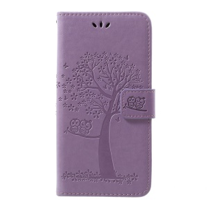 Imprint Tree Owl Leather Cover with Wallet Stand for Samsung Galaxy A30/A20 - Light Purple
