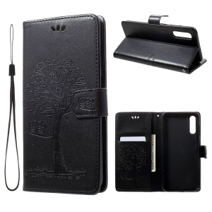 For Samsung Galaxy A70 Imprint Tree Owl Leather Wallet Stand Mobile Cover - Black