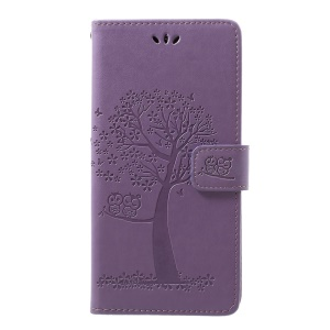 For Samsung Galaxy A70 Imprint Tree Owl Leather Wallet Stand Mobile Cover - Light Purple