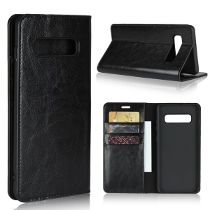 Crazy Horse Wallet Stand Genuine Leather Case for Samsung Galaxy S10 Plus - Black