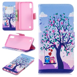 Pattern Printing PU Leather Wallet Cover Shell for Samsung Galaxy A10 - Two Swinging Owls
